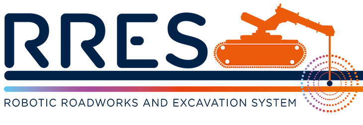 RRES logo - RRES means Robotics Roadworks and Excavation System