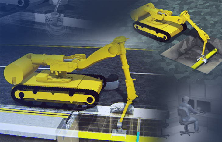 An animation of a robotic arm excavating into a road