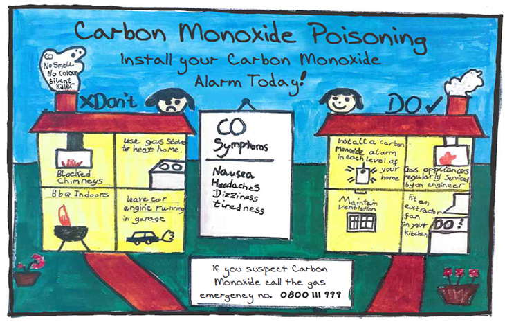 The award winning poster by Roven Fernando. Roven has drawn two houses with two headings, the do's and don'ts of carbon monoxide.