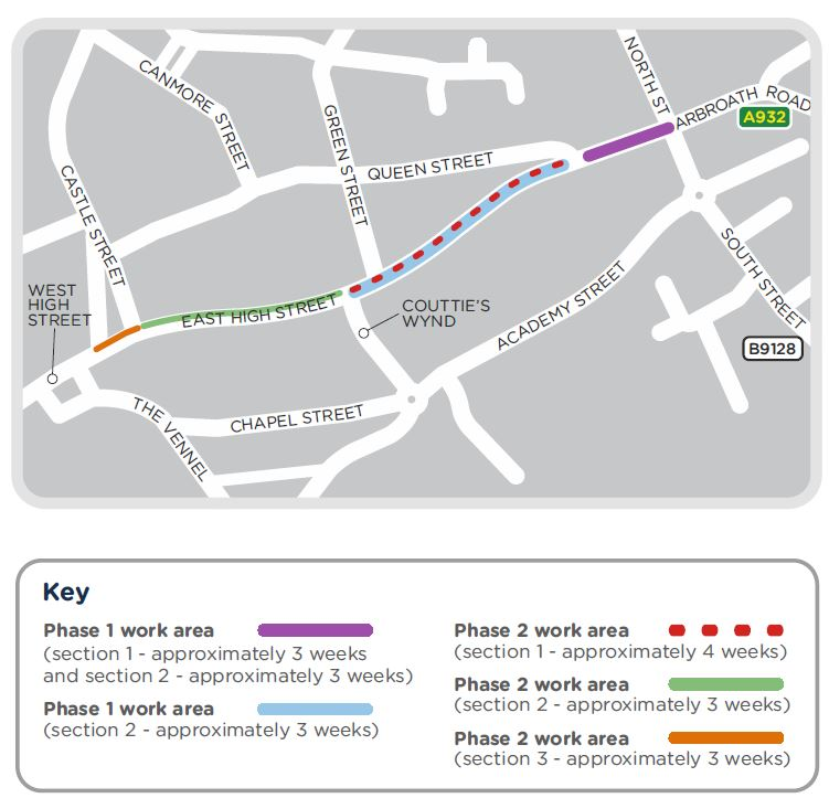 A map showing our planned phases of work. On 6 January 2020, we'll start work in East High Street. From Monday 27 January 2020, we'll need to temporarily close East High Street between Queen Street and Couttie's Wynd. From 17 February 2020, we'll need to close East High Street. From 16 March, we'll close East High St eastbound between Castle Street and Couttie's Wynd.  From 6 April, we'll need to close East High Street to eastbound at Castle Street.