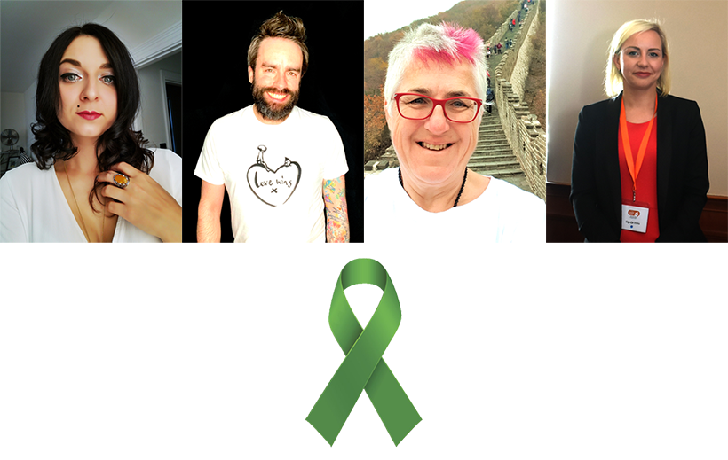 Photos of Julia Prosina, Bradley Barlow, Pauline Sharp and Signija Elms above a green ribbon