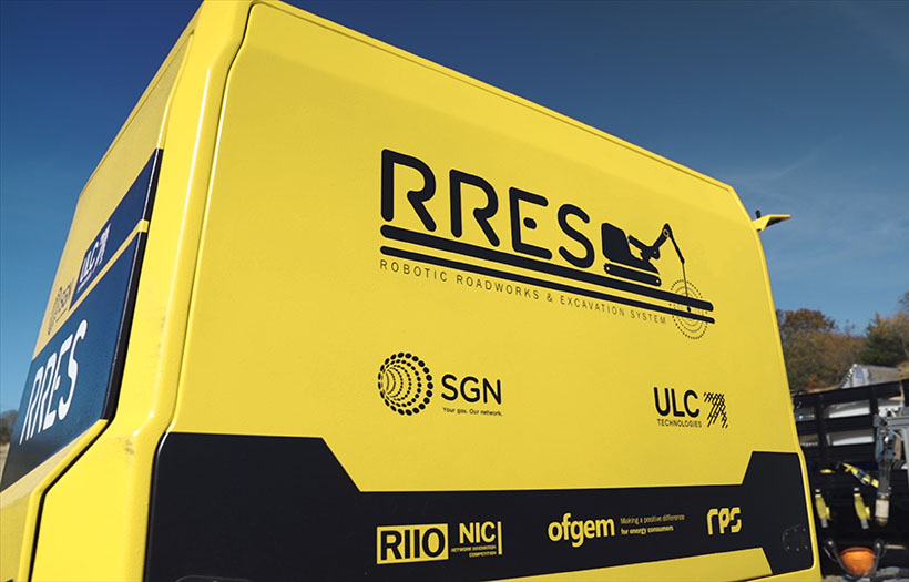 The rear view of our RRES robot focusing on RRES, SGN and ULC logos