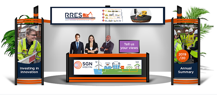 A virtual exhibition stand with display panels showing images of SGN projects.