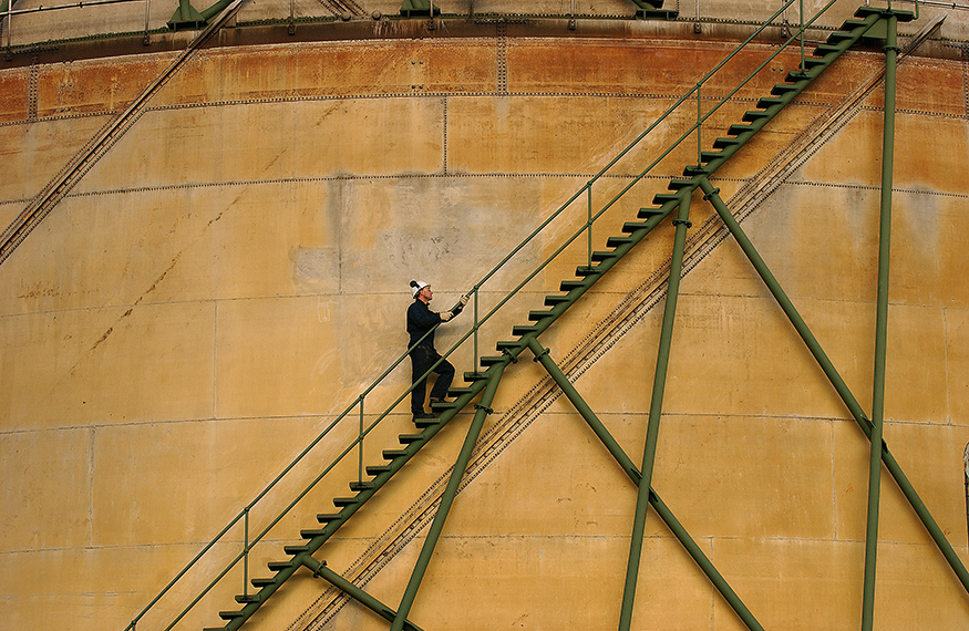 Engineer on site at a gas holder station