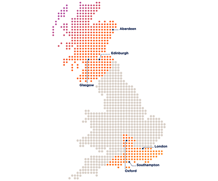 SGN's network. SGN operates in Scotland and in southern England.