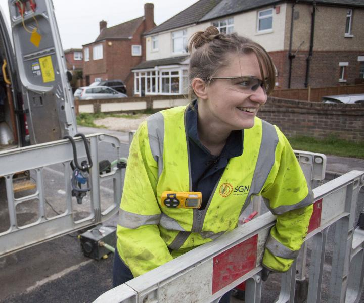 SGN Replacement Project Manager Cat Vaughan helps replace a section of natural gas pipe